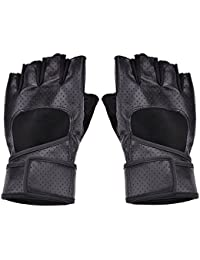 Sports Gloves - SODIAL(R) Men Professional Workout Training Workout Fitness Sports Wristwrap Weight Lifting Gloves (Color: Black)