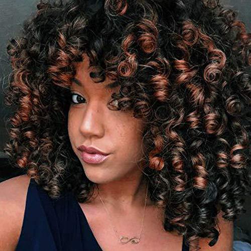 lockiges Haar Perücken für schwarz Frauen, natürliche Haar Perücken für schwarz Frauen, kinkys Curly Afro Perücken Echthaar Lace Front kurz flauschig, gewellt, 35,6 cm (braun)