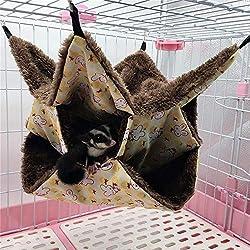 Hamster Hamac, Hamac Mezzanine Trois Couches pour Petit Animal de Compagnie Sac de Couchage Suspendu Chaud Jouer à Dormir Literie Accessoires Furet Totoro écureuil Hamster Rat