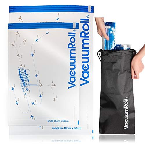 Reise Vakuumbeutel zum Rollen per Hand 12 Stück + 1 Nylonpacktasche Transparent mit Flugradarmotiv, Vakuum Kompressionsbeutel Reise , platzsparend packen für Kleidung, Decken, Camping, Backpacking