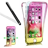 iPhone 5S Hülle,iPhone SE Double Side Full Body Silikon Schutzhülle,Leeook Cute Elegant Retro Kreative Gradient Gelb Rosa Silikon Crystal Vorne und Hinten 360° Full Cover TPU Ultra dünn Case Vorne Hinten Beidseitiger Schutz Full Handytasche Durchsichtig Transparent Front Back Doppelseitig Touchscreen TPU Silikon Dünne Komplette Schale Bumper Case Cover für Apple iPhone SE/5S/5 + 1 x Schwarze Eingabestift-Yellow Pink
