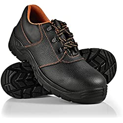 [pro.tec] Zapatos de Seguridad - 41 - S3 - hidrofugados - con Puntera de Acero - Zapatos cómodos para Trabajar - Calzado de Seguridad - Negro/Naranja