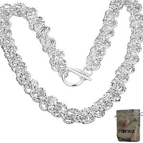 Preisvergleich Produktbild Original Enez Massive Kette Halskette 925 Sterling Silber plattiert L:46cm B:0, 7cm + Geschenkbeutel R322b