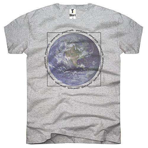 Té de Camiseta,–Camiseta para Hombre con Texto Impreso. Coole Diseños. Camiseta con Tierra Planet Impresión. Globo terráqueo, erdkugel. Gris Gris