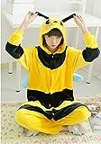 Katara 1744 -Biene Kostüm-Anzug Onesie/Jumpsuit Einteiler Body für Erwachsene Damen Herren als Pyjama oder Schlafanzug Unisex - viele verschiedene Tiere -