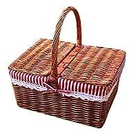 Xiao Yu Picnic Basket - Rattan Wicker Picnic Basket With Cover Storage Basket Shopping Basket Shopping Basket Outdoor Basket Gift Basket