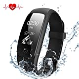 Fitness Tracker Herzfrequenz, DBPOWER Wasserdicht IP67 Smart-Armband mit Activity Tracker Armbanduhr mit Kalorienzähler Schrittzähler + Armbanduhr Ersatz Band für Android und IOS (Black)