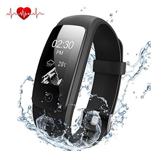 Fitness Tracker Herzfrequenz, DBPOWER Wasserdicht IP67 Smart-Armband mit Activity Tracker Armbanduhr mit Kalorienzähler Schrittzähler + Armbanduhr Ersatz Band für Android und IOS - Frauen Peak Mantel
