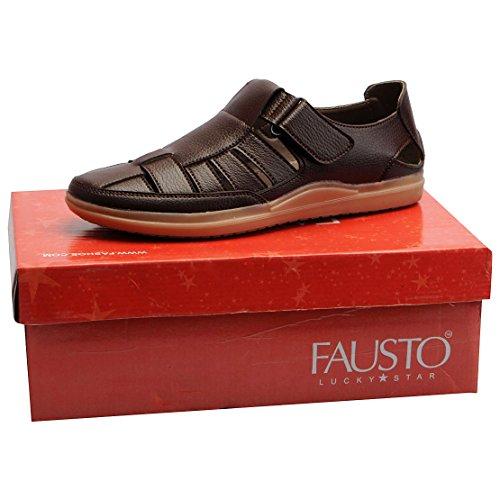 FAUSTO Men's Brown Sandals FST 3359-41