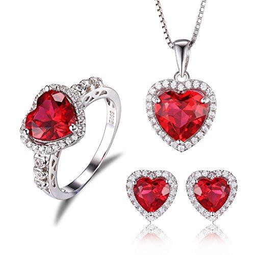 JewelryPalace Herz des Ozeans 10.4ct schuf Rot Rubin Liebe für immer Halo Versprechen Schmuck Sets Ring Anhänger Halskette Ohrstecker (Versprechen Ringe Halskette)