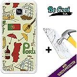 BeCool® Fun - Coque Etui Housse en GEL Flex Silicone TPU Samsung Galaxy A5 2016 [ +1 Protecteur Verre Trempé ] , protège et s'adapte a la perfection a ton Smartphone et avec notre design exclusif. Symboles du Portugal