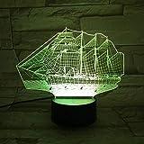 Lampe à voile voilier 3D touche colorée led lampe visuelle lampe d'ambiance de Noël...