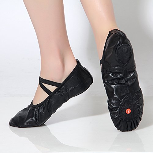 Dreamone Ballet Shoes Balletto Pantofole Pelle Ginnastica Scarpe Danza Turn-down Ladies Girls Bambini Nero