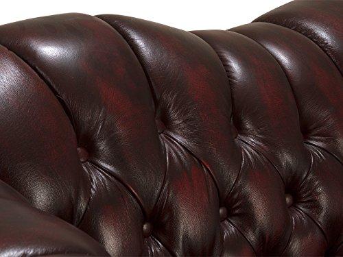 massivum Sofa Chesterfield 215x82x94 cm Echtleder rot - 3