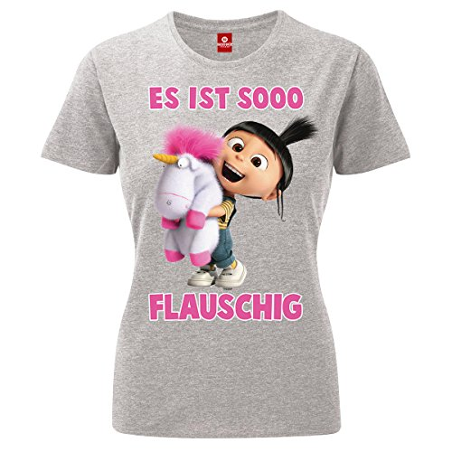 Damen T-Shirt - Minions ES ist So Flauschig Agnes Einhorn Unicorn Scarlet Overkill Herb Kevin Bob Stuart Gru Flux Phil Margo Edith Vector Einauge Banana Minion Mission Yellow Grau XS