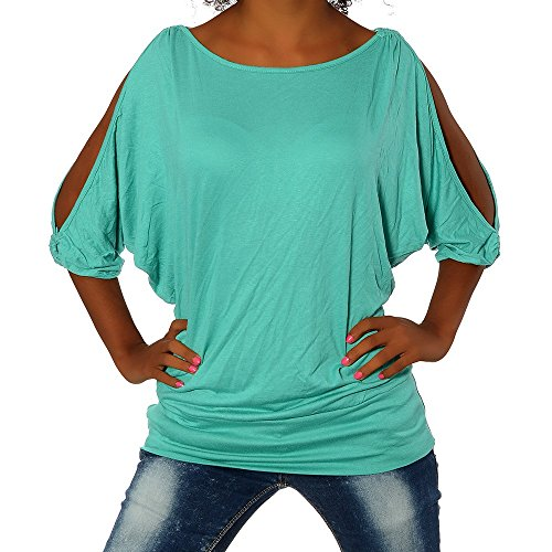 G305 Damen Shirt Tunika Bluse Pullover T-Shirt Tank Top Minikleid, Farben:Grün;Größen:Einheitsgröße -