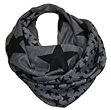 LOOP Design Schal Star STERN Fashion Schlauchschal Rundschal Trendy (Anthrazit)