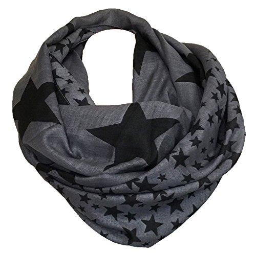 LOOP Design Schal Star STERN Fashion Schlauchschal Rundschal Trendy (Anthrazit)