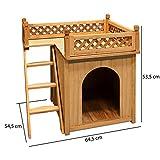 Hundehütte SONNENTERRASSE Hundehaus Tierhaus Hundehöhle Hund Holz Box Garten NEU - 3