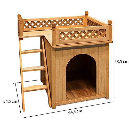 Hundehütte Hundehaus Katzenhaus Hundehöhle Tierhaus Hund Holz Box Garten Sonnenterasse - 3