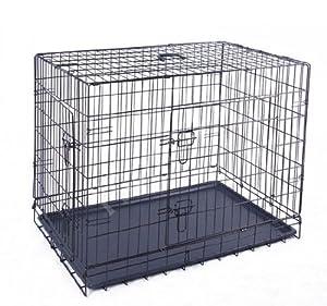 """PawHut 24"""" Dog Pet Puppy Cages Folding 1 Door Crate Carrier Black 24"""" L x 18"""" W x 20"""" H"""
