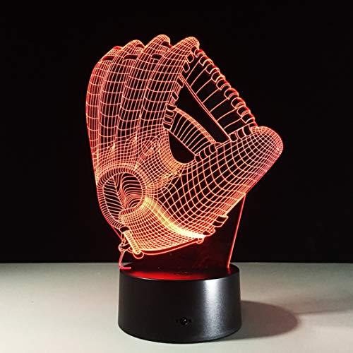 Rjjrr Touch Farbwechsel 3D LED Nachtlicht Stimmung Lampe Baseball Handschuh Acryl Schlafzimmer Beleuchtung Dekoration Rugby Handschuh Deko Nachtlicht Schlafzimmer