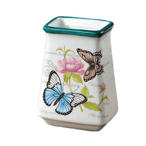 Bejoliann portaspazzolino bagno multifunzione modello a farfalla in ceramica porta spazzolino portapenne titolare di fiori