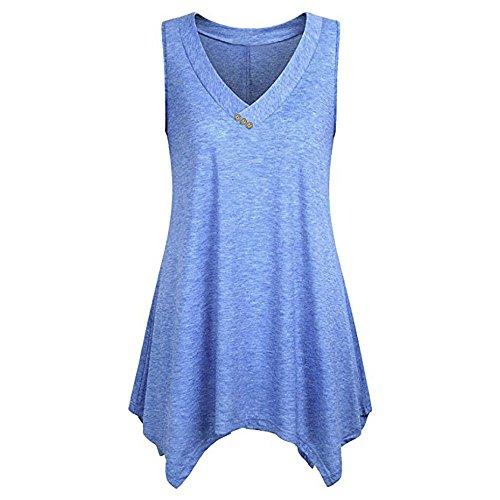 Sonnena Damen V Ausschnitt Tank Top Sommer Sports Shirts Oberteile Frauen Irregulär Lose Ärmellos Casual Plus Size for Yoga Jogging Laufen Workout (Shorts Workout Plus Womens)