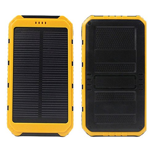 hinmay Solar Ladegerät 20000mAh Wasserdicht Tragbares Ladegerät, tragbares Ladegerät Power Bank Solar Ladegerät mit 2Input Port für iPhone, iPad, Samsung, alle Smartphone, Outdoor Camping Reisen, gelb