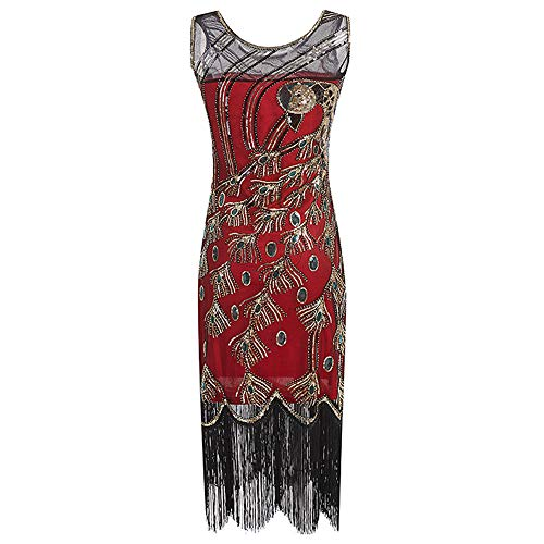 Great Gatsby Kleid Damen Retro 1920er Pfau Muster Pailletten Quasten Perlen Art Deco Scalloped Saum Inspiriert Flapper Kleid Party Damen (1920er Jahre Red Flapper Kostüm)