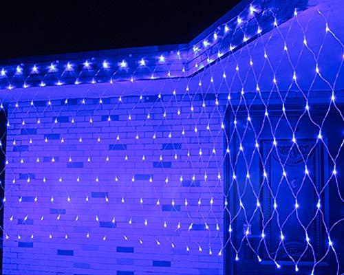Faprol garden fata luci rete, luce di natale led per esterni da parete prato lampada impermeabile con 8 effetti di luce, blu 3x2m