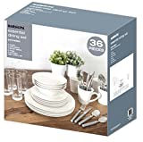 Sabichi 36pc Dining Starter Set, Porcelain, White, 24.5 x 31 x 33 cm