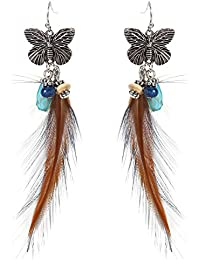 Bold N Elegant Blue And Coffee Butterfly Angel Wing Dangle Drop Long Trendy Feather Earrings For Girls And Women