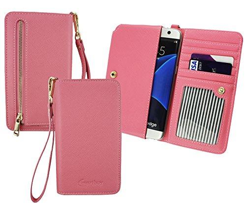 Emartbuy® Baby Rosa PU Leder Kupplung Geldbörse Hülle Tasche Sleeve (Größe 3XL) Mit Münzfach, Kartensteckplätze und Abnehmbare Handschlaufe Geeignet Für Slok C2 Dual SIM Smartphone
