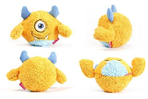 Toypalace24 Quietschball für Hunde im lustigen Monster-Hundeball-Design/Weiches Wurfspielzeug zum apportieren für große & kleine Hunde/Farbe: Orange 2 / Größe nach Wahl