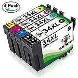GREENSKY 4 paquets Remplacement de cartouche d'encre compatible Epson 34xl pour Epson...