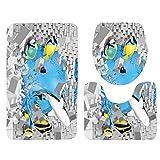 Set 3tlg Badematten, Asnlove Rechteck Badvorleger 75 x 45 CM Badteppich Badgarnitur Matte Badvorleger WC-Deckelbezug Toilettendeckel Set 3tlg Bathroom Rug Mat Weich Duschmatte mit 3D Muster - Aktiver Fisch