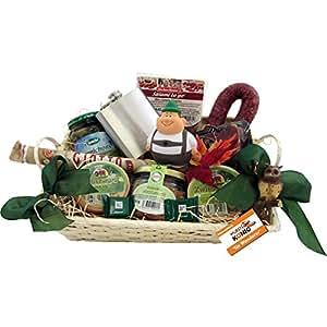 Bergsteiger Geschenk-Korb Wanderer Präsentkorb (6089) mit deftigen Delikatessen und Süßigkeiten, antistress Wanderer-Figur Knautschi SQUEEZIES®