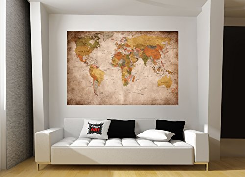Weltkarte Wanddekoration Vintage - Wandbild Retro Motiv XXL Poster worldmap by GREAT ART (140 x 100 cm) - 5