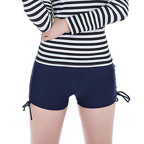 iBaste Femmes Shorts de Bain Classique avec Cordons de serrage Bleu Marine
