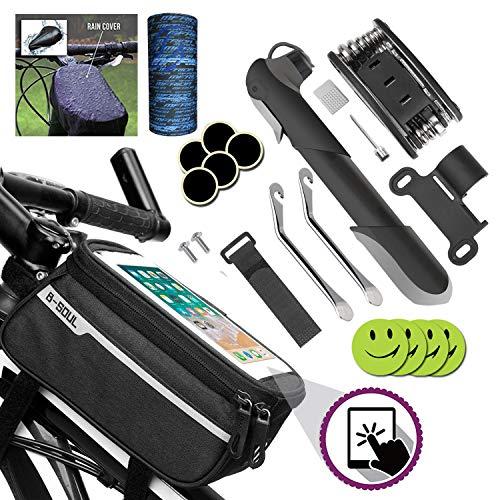 Fahrradtasche Rahmentasche Oberrohrtasche Fahrrad Handytasche Vorne Sensitive Touch-Screen,Mini Fahrradpumpe Luftpumpe,16 in 1 Werkzeuge für Reparatur Set Fahrradwerkzeug Tool