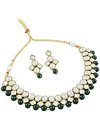 Latest Party Wear Green Kundan Necklace Jewellery Set For Women By Shining Diva