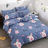 WAWA Komfortabel, warm, waschbar, langlebig und pflegeleicht,Gebürstete vierteilige Bettdecke aus pflanzlichem Kaschmir mit Blauer Haut Maus 1,2 m Bett