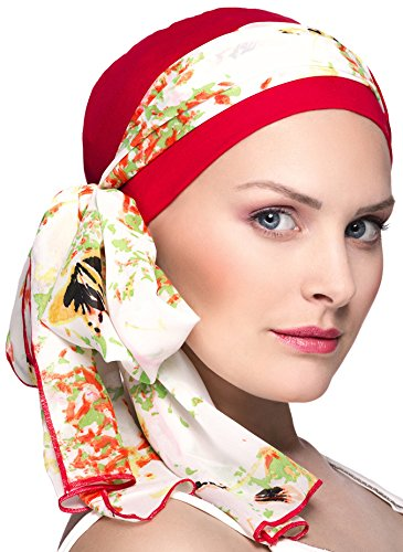 NJ CREATION Venise Bonnet Rouge + Foulard Fleuri Rouge