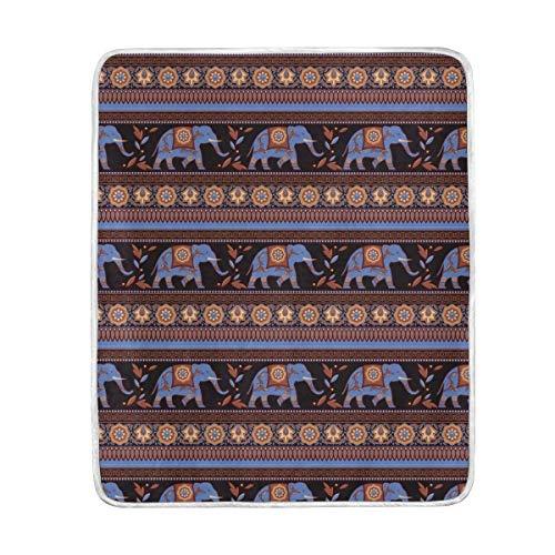 ALAZA Indien Afrique Bohème éléphant Fleur en Peluche Plaids Siesta Camping de Voyage léger Plaids Lit SOFE de Taille 127 x 152,4 cm, Polyester, Multi18, 50x60inches