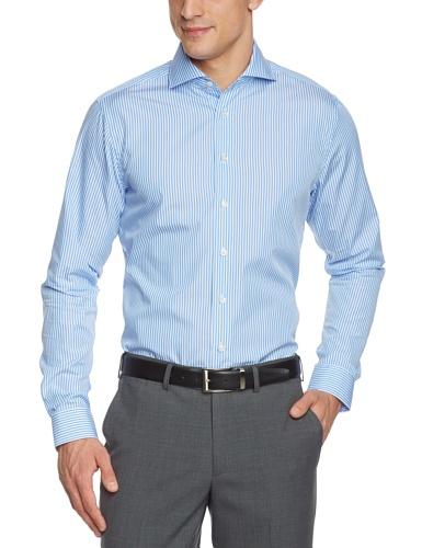 Arrow Herren Businesshemd Slim Fit, gestreift 010053/13 Broadway NOS Shark 1/1 W102, Gr. 40, Blau (13) (Hemd Arrow)