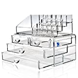 H&S® Acrylic Clear Make up Makeup Organiser Cosmetic Box - 4 Drawers - L