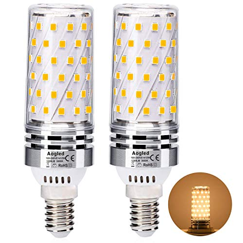 Aogled E14 Led Bulb Lamp 12W,Equivalent to 100W Halogen lamp,Warm White 3000K,1200LM Corncob,Edison Screw Candelabra E14,Not Dimmable,No Flickering AC220-240V,Pack of 2
