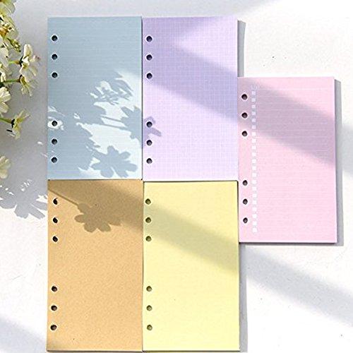 Loghot 5Sets Sortiert Farben Refills Fügt Filler Papier Seiten für 6-Holes Notebook, 40Blatt/Set A5 - Refills 2 11 Planner 8 1 X