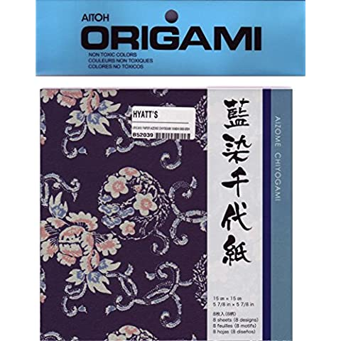 Origami di carta Aizome Chiyogami Washi 6X6 8 / (Washi Chiyogami Carta)